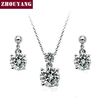 Top Quality ZYS061 Concise Classic Silver Color Jewelry Necklace Earring Set Rhinestone Made with Austrian Crystals